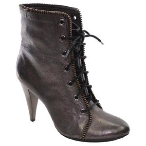 Coach Adelaide Pewter Crackled Leather Boots